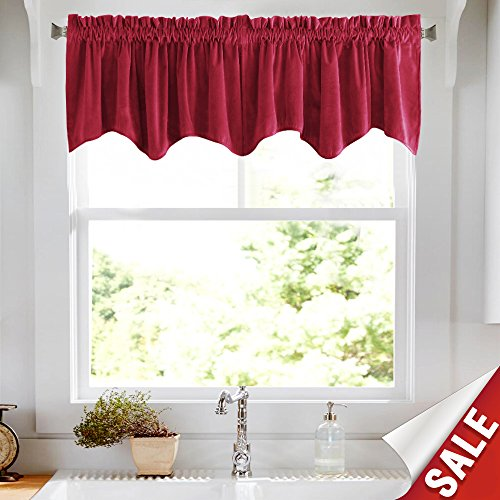 - jinchan Room Darkening Velvet Curtain Weave-Shape Valance for Living Room, Thermal Insulated Rod Pocket Window Curtain for Bedroom 1 Panel, 18