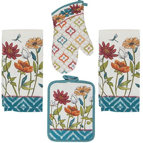 Kay Dee 4 Piece Kitchen Set - 2 Terry Towels, Oven Mitt, Potholder (Spice Beauties) ()
