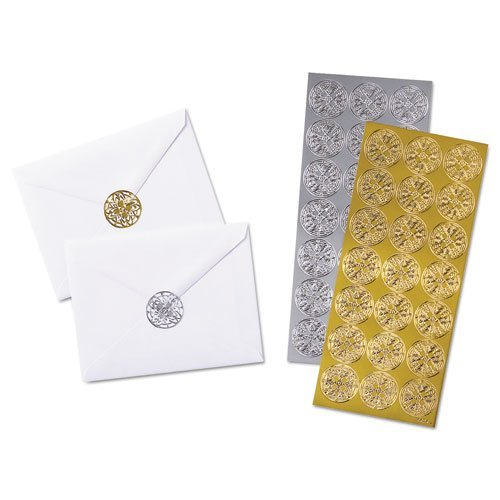 Quality Park Decorative Foil Envelope Seals, Pack of 21 Gold and Silver Seals (46910)]()