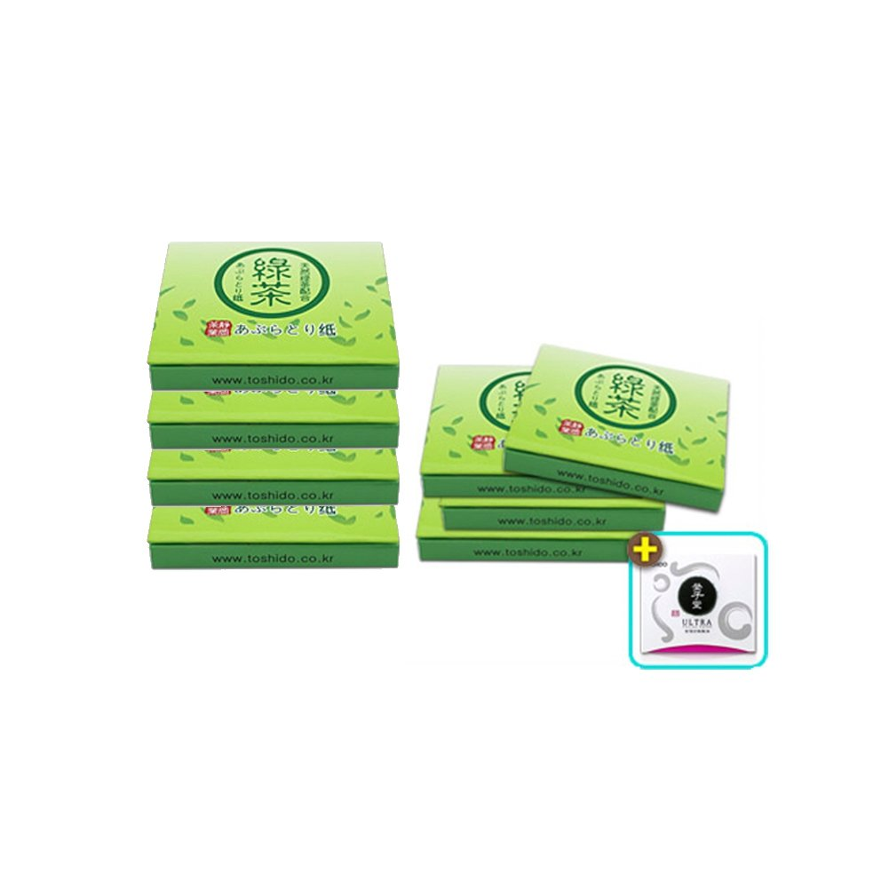 Toshido 100% Natural Hemp Green Tea Paper Oil Absorbing Facial Blotting Sheets Mirror Case Green 500 Count