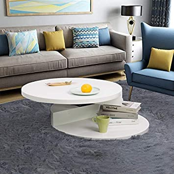 Euco Table Basse Blanche Noire Table Basse Rotative En Bois Moderne
