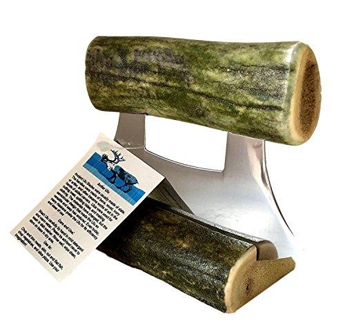 (Made in Alaska Natural Caribou Natural Green Colored Antler Ulu Knife)