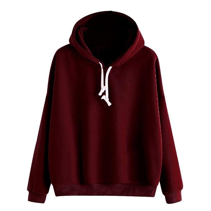50d097938d45 Binggong Sweatshirt, Damen Hoodies Sweatshirt Langarm Solid Pullover  Kapuzenpullover Tops Bluse Jumper Rosa Schwarz Weinrot  Amazon.de   Bekleidung