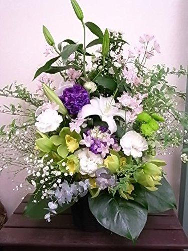お供えアレンジおまかせ100 【生花】【ご仏壇の花】【お供え花アレンジ】【法事用アレンジ】色をご指定ください。季節時期の入荷により花材資材は変更いたします(写真は一例です) お届けのご希望日時は注文日から 5~20営業日で必ずご指定ください。 (白グリーン紫ピンク) B075CGZLLK 白グリーン紫ピンク  白グリーン紫ピンク