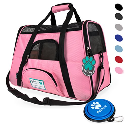 Premium Soft-Sided Pet Travel Carrier by PetAmi   Airline Approved, Ventilated Design, Safety   Ideal for Small to Medium Sized Pet (Pink)