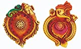 Ramya's Handpainted Earthen Terracotta Decorative Diwali Diyas - Set of 2 (7108)