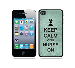 Keep Calm And Nurse On Teal Floral - Protective Designer WHITE Case - Fits Apple iPhone 4 / 4S / 4G