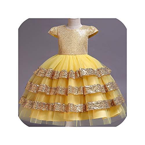 Dresses Wedding Party Princess Dresses Baby Girls First Communion Layered Tutu Dresses,Yellow,2T -