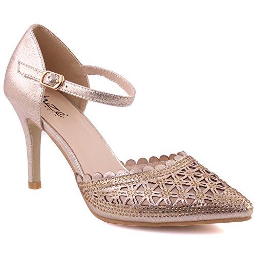 Unze Frauen Marlene Spitzen Zehe Schneiden Sie Sexy Mid-High Ferse Mädchen Pumpe Schuhe Formale Slip-On Knöchelriemen Partei Sandalen Größe 3-8 - 182-20 Gold