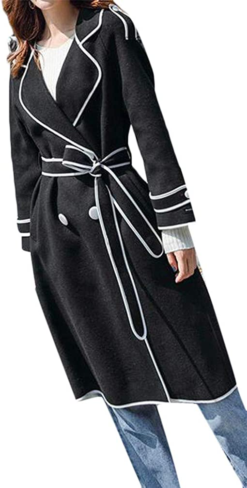 Pcutrone Womens Double Breasted Belt Casual Lapel Neck Overcoat Wool Blend Coat Jacket