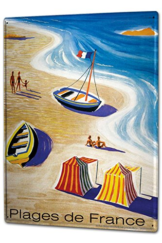 Tin Sign XXL Holiday Travel Agency France beaches by LEOTIE