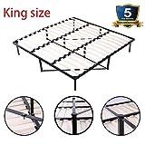 1INCH Bed Frame Mattress Foundation, Wooden Slat Metal Bed Frame Wood Platform Bedroom Mattress Foundation Queen Size (King)