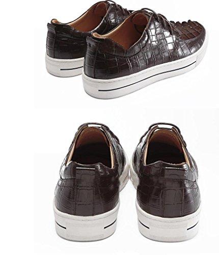 Nbwe High-end Krokodil-patroon Lederen Schoenen High-end Custom Casual Schoenen Sportschoenen Boord Koffie
