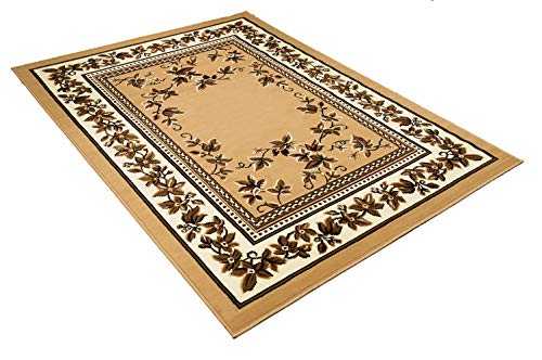 Maxstock Taj Mahal Collection Persian Traditional Design Rectangular Area Rugs -Beige/Ivory/Mocha (8 Feet x 10 ()