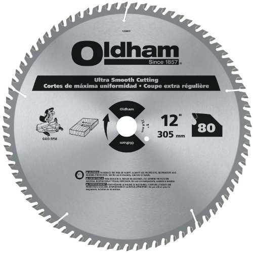 Oldham 12080TP All Purpose 12-Inch 80 Tooth ATB Trim and Finishing Saw Blade with 1-Inch Arbor