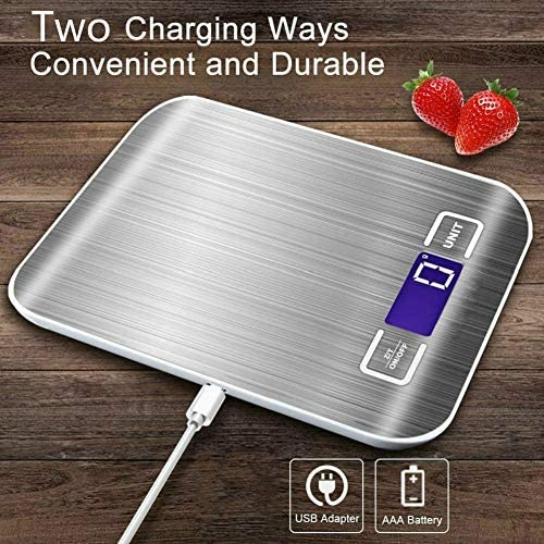 Food Kitchen Scale - 11lb/5kg Food Scale with Digital weight grams and oz, 1g/0.05oz Precise Graduation, USB Rechargeable 5 Units LCD Display Scale for Weight Loss, Baking, Cooking and More 6