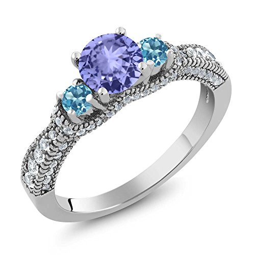 Gem Stone King 1.75 Ct Round Blue Tanzanite Swiss Blue Topaz 925 Sterling Silver Ring (Size 6)