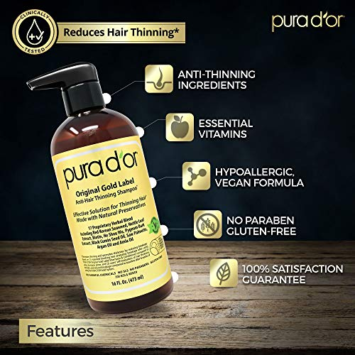 PURA DOR Original Gold Label Anti-Thinning Shampoo Clinically Tested, Infused with Argan Oil, Biotin & Natural Ingredients, Sulfate Free, All Hair ...