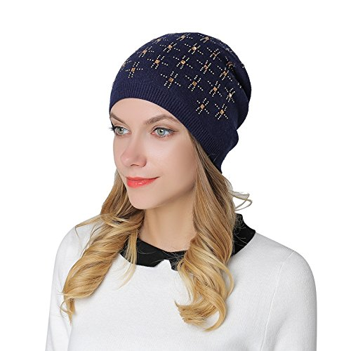 7f6158f3fcd Image Unavailable. Image not available for. Color  iShine Women Ladies  Winter Beanie Hat Wool Knitted with Small Crystals Ski ...