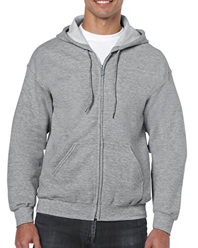 Gildan Men's Fleece Zip Hooded Sweatshirt Sport Grey Large