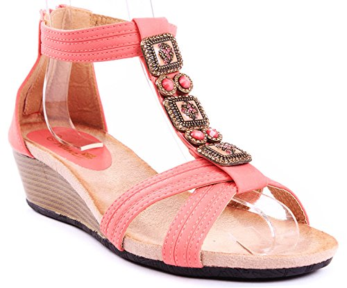 JJF Shoes Beth Coral Gem Jewel Beaded T-Strap Zipper Comfort Wedge Heel - Black Gem Coral