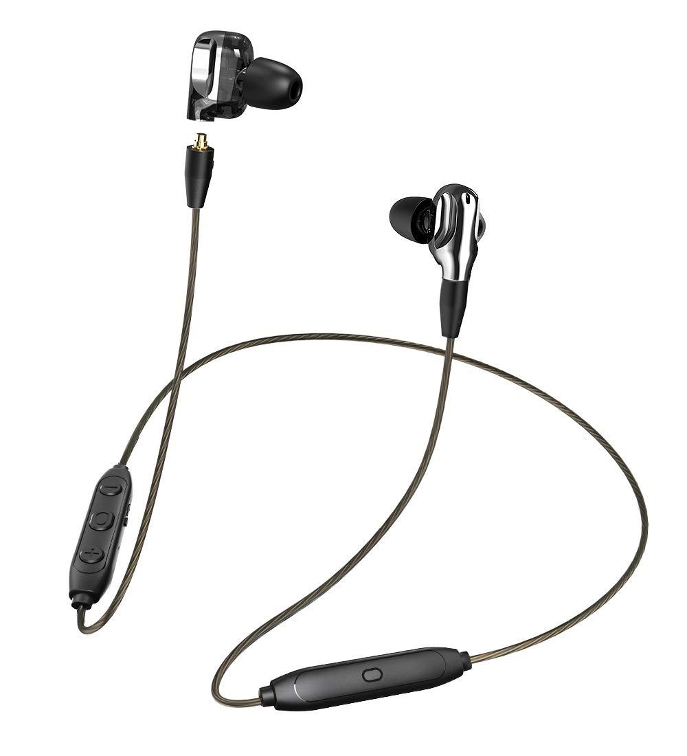 Bluetooth Headphones, Mijiaer Dual Drivers Wireless in-Ear Earbuds 8 Hours Playback Earphones, Built-in Microphone, Sport Waterproof Headphones Compatible with iOS, Android (Black)