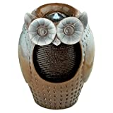 Water Fountain with LED Light - Professor Owl Decor Fountain - Faux Ceramic Outdoor Water Feature
