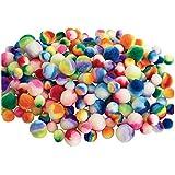 Colorations Rainbow Striped Pom-Poms - 200 Pieces (Item # COLORPOM)