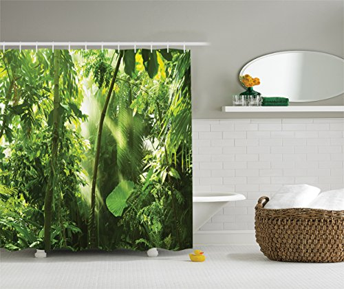 Ambesonne Farm House Decor Collection, Summer Sunbeams Come into Tropical Monsoon Jungle with Bamboos Types of Plants with Leaves View, Polyester Fabric Bathroom Shower Curtain, 75 Inches Long, Green (Type Jungle)