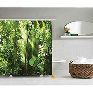 Ambesonne Farm House Decor Collection, Summer Sunbeams Come into Tropical Monsoon Jungle with Bamboos Types of Plants with Leaves View, Polyester Fabric Bathroom Shower Curtain, 75 Inches Long, Green