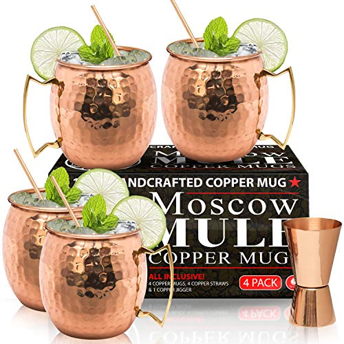 Moscow Mule Copper Mugs - Set of 4-100% HANDCRAFTED - Food Safe Pure Solid Copper Mugs - 16 oz Gift Set with BONUS: Highest Quality Cocktail Copper Straws and Jigger!