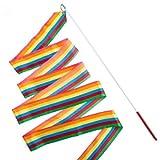 Eforstore 4M Dancing Ribbon Streamer Dance Baton Gym Rhythmic Ribbons with Wand Art Artistic Gymnastics Ballet Twirling Rod Stick for Women Girls Kids (Rainbow)