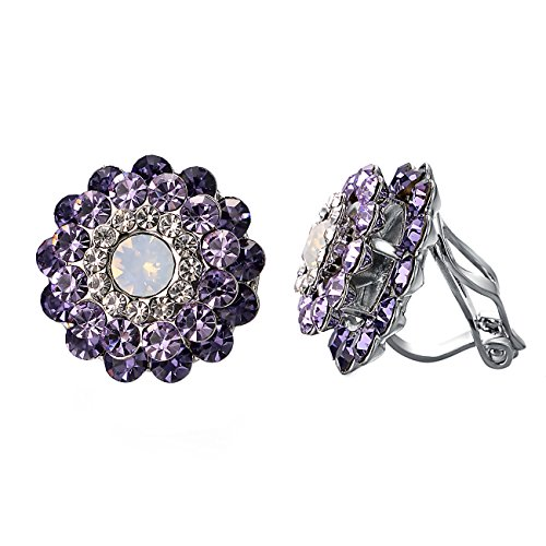 (Yoursfs Clip on Earrings For Women Purple Crystal & Small Cubic zirconia Floral Non Pierced Earrings (Purple Crystal))