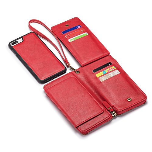 iPhone 7P/8P Wallet Case,TACOO Soft Leather Card Holder Money Slot Hand Strap Zipper Protective Red Cover for Apple iPhone 7Plus/8 Plus 5.5 Inch 2016/2017
