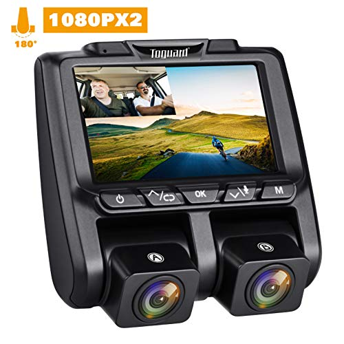 """TOGUARD Uber Dual Dash Cam Full HD 1080P+1080P Inside and Outside Car Camera Dash Cams 3"""" LCD 340° Dashboard Camera with Sony Sensor, WDR, Parking Monitor, Motion Detection for Lyft Car Taxi"""