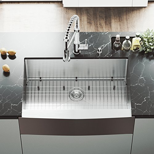 (VIGO VGR3320CK1 Bedford 33 inch Farmhouse Stainless Steel Kitchen Sink Set with Rounded Edge, Grid and Strainer, 16 Gauge Single Bowl. Commercial Grade Premium Satin Finish)