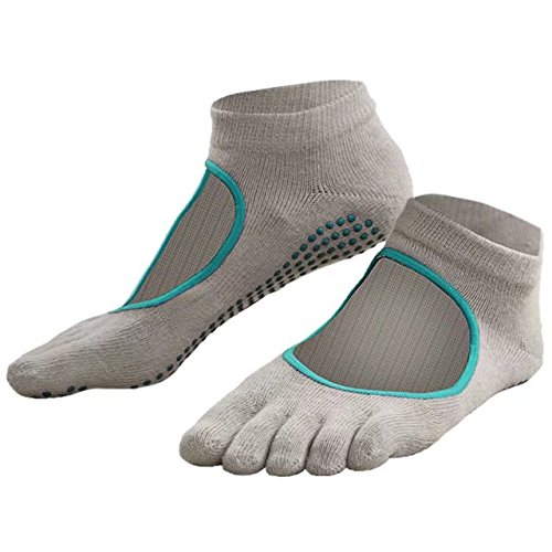 Pack of 3 Separate Toe Non-Slip Pilates Yoga Socks Grips, Workout Breathable Exercise Socks for Men and Women