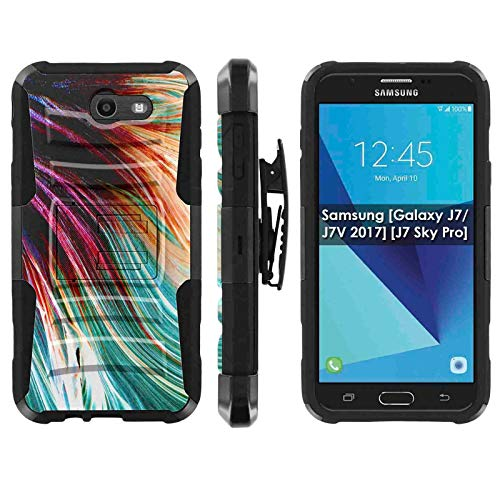 Samsung Galaxy (J7 2017) (J727) Deluxe Phone Case by [TalkingCase], Premium Dual Layer Armor Case w/Holster & Kickstand Perx,Sky Pro,J7V [2017],Halo-Cricket,Prime, [Fighting Fish Scales] ()