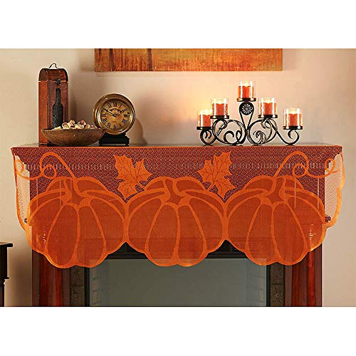 "Gotian 59.85""x20"" Pumpkin Lace Table Toppers Fireplace Cloth"