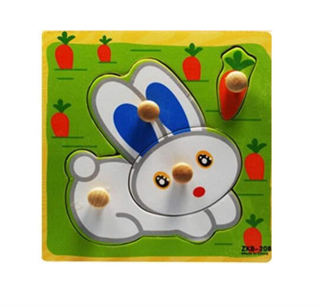 Zicue Educativos Niños Jigsaws Rompecabezas de Madera Lindo Cognitive Board Early Learning Toy niños (Conejo)