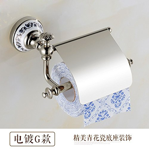 Surnoy All Copper Gilt Paper Towel Stand Golden Blue and White Porcelain European Roll Paper Holder Paper Towel Rack Toilet Paper Holder Paper Towel BoxG -
