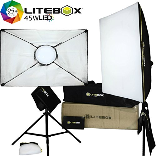 LITEBOX | Set of 2 LED Light Panels for Video & Photography Lighting (DIMMABLE) - NEW Removable Softboxes, Diffusers, Stands & Travel Bag all in one Box! - (5500K 95+CRI Output)