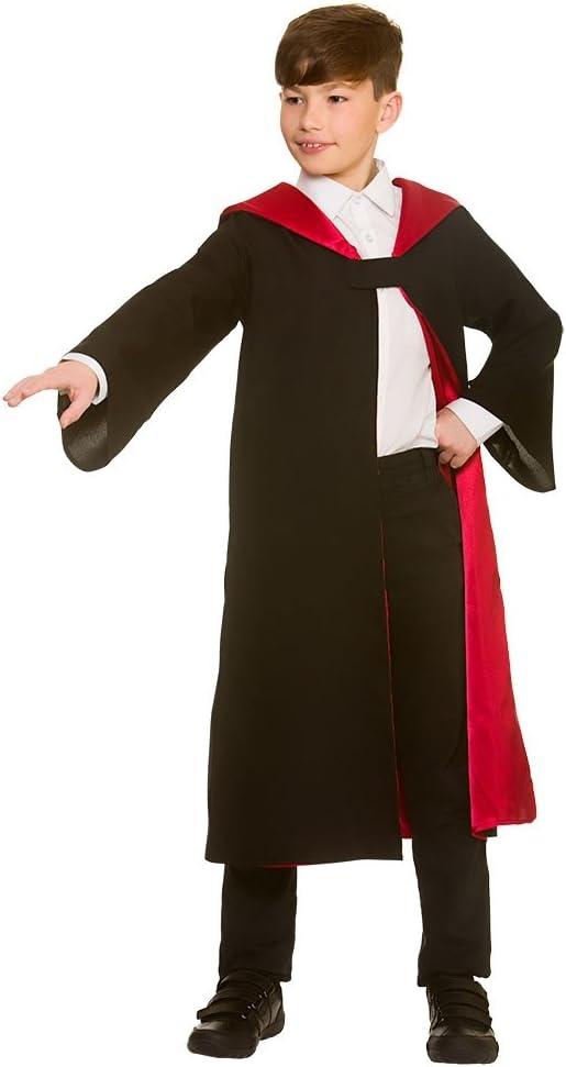 Wicked Costume Disfraz de mago negro / rojo unisex para niños ...