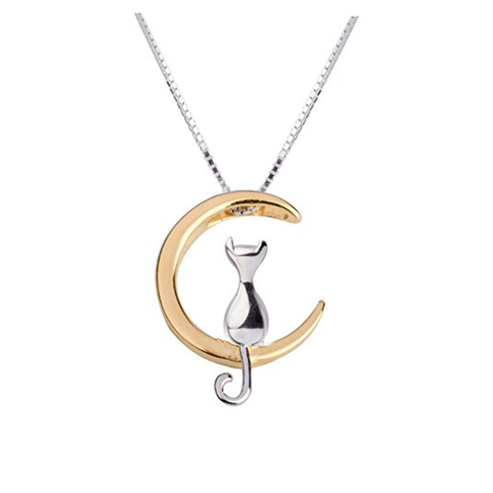 TMCO Girl 925 Sterling Silver Necklace Moon Cat Pendant Necklace (silver and gold)