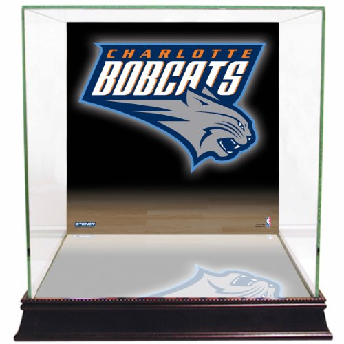 NBA Charlotte Bobcats Glass Basketball Display Case with Team Logo Background