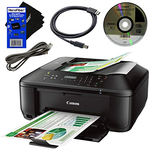 Canon PIXMA Pinter MX532 Wireless All-in-One Inkjet Printer, Copier, Scanner, Fax, Google Cloud Print & AirPrint + USB Printer Cable + HeroFiber Ultra Gentle Cleaning Cloth