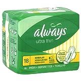 Always Ultra Thin Regular con alas, almohadillas para orejas sin aroma, 18 unidades (caja de 12) 216 almohadillas para orejas en total