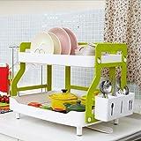 Drain Double-Decker Plastic Kitchen Sink Dish Rack Dish Rack Basket With Chopsticks Towel Rack