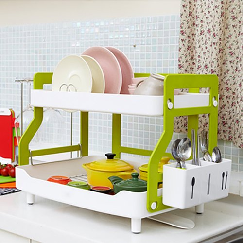 Drain Double-Decker Plastic Kitchen Sink Dish Rack Dish Rack Basket With Chopsticks Towel Rack by BATHROOM RACK