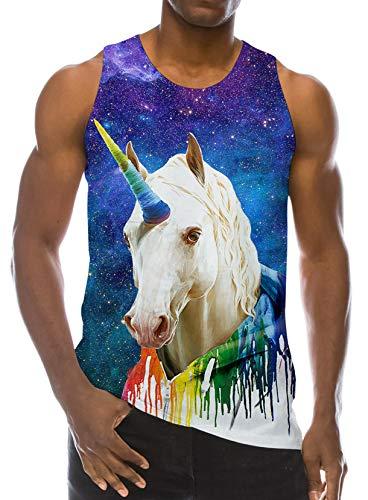 RAISEVERN Tank Top Stylish Sport Gym Tees Athletic Training Vest 3D Galaxy Colorful Unicorn Graphic Novelty Sleeveless Garment for Men